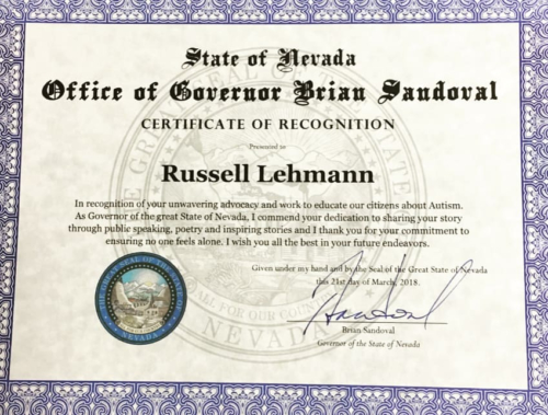 Certificate of Recognition from Nevada Governor Brian Sandoval