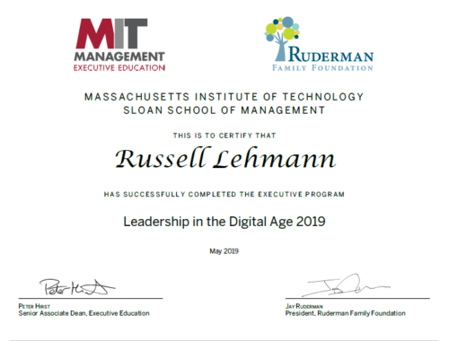 """Russell Lehmann graduation certificate from the Ruderman Family Foundation's """"Leadership in the Digital Age"""" at MIT Sloan School of Management, May 2019"""